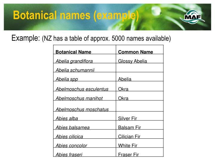 Botanical names example