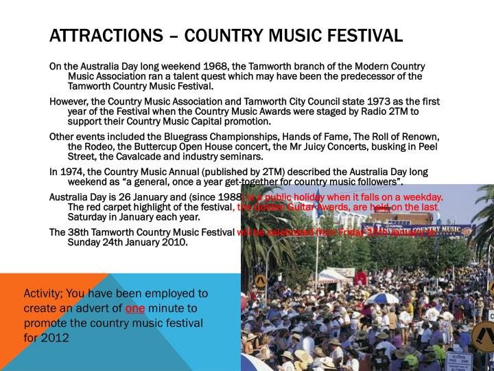 Attractions – Country music festival