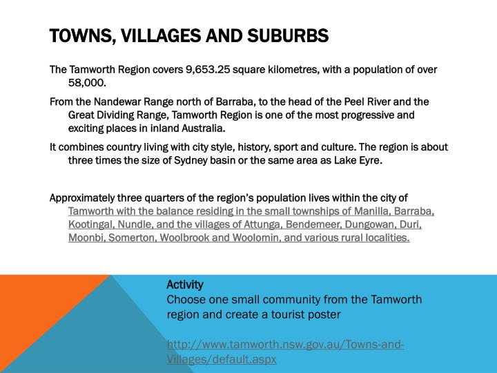 Towns, Villages and Suburbs