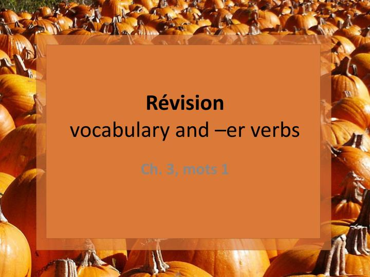 r vision vocabulary and e r verbs n.