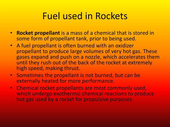 Fuel used in Rockets