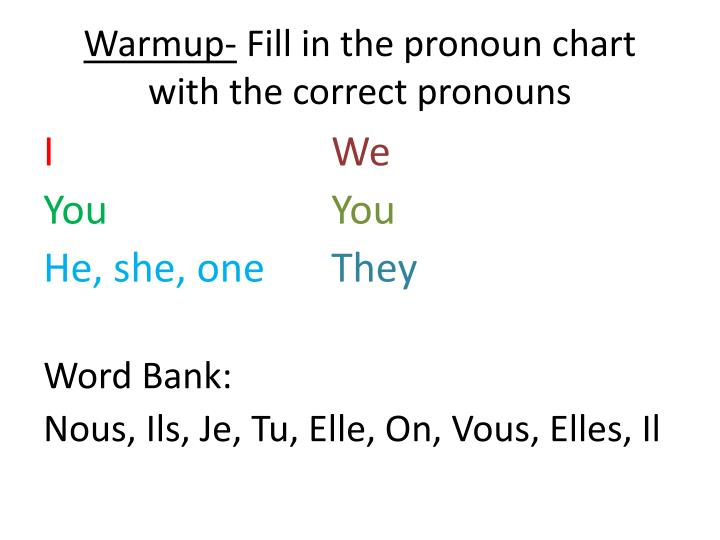warmup fill in the pronoun chart with the correct pronouns n.