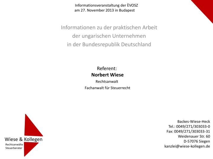 informationsveranstaltung der vosz am 27 november 2013 in budapest n.