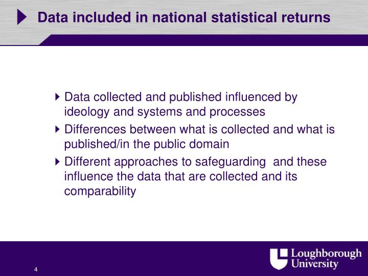Data included in national statistical returns