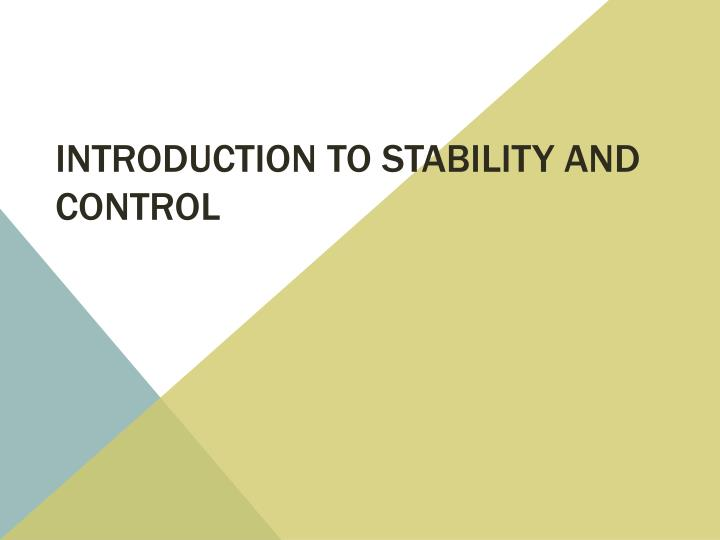 introduction to stability and control n.