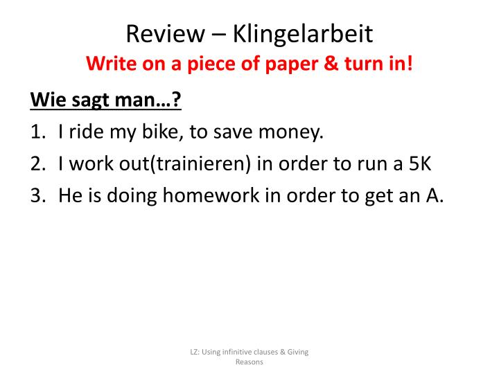 review klingelarbeit write on a piece of paper turn in