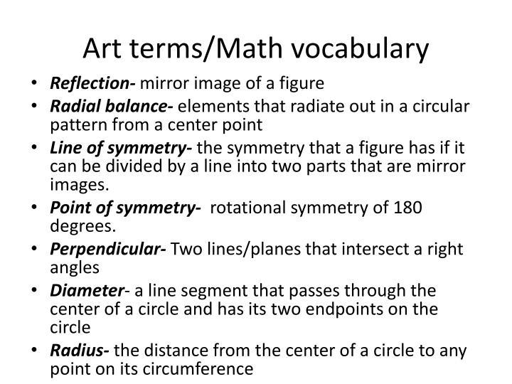 Art terms/Math vocabulary
