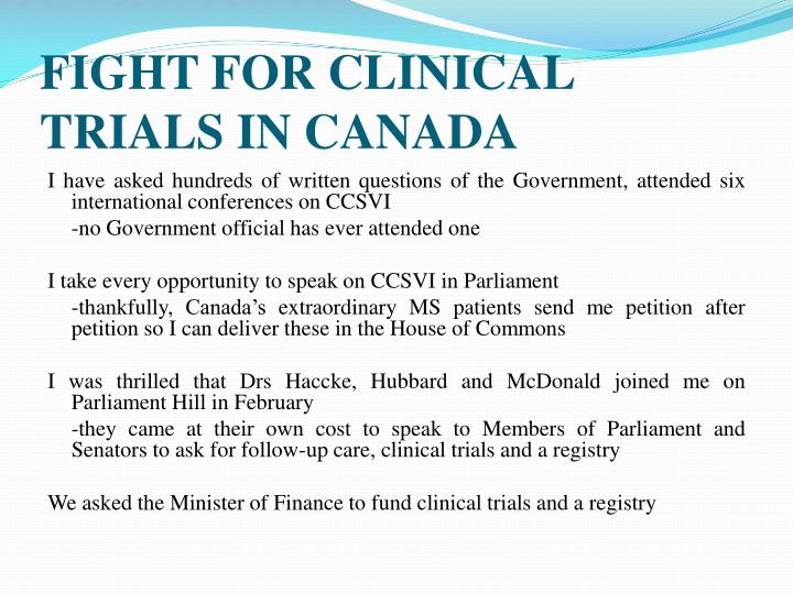 FIGHT FOR CLINICAL TRIALS IN CANADA