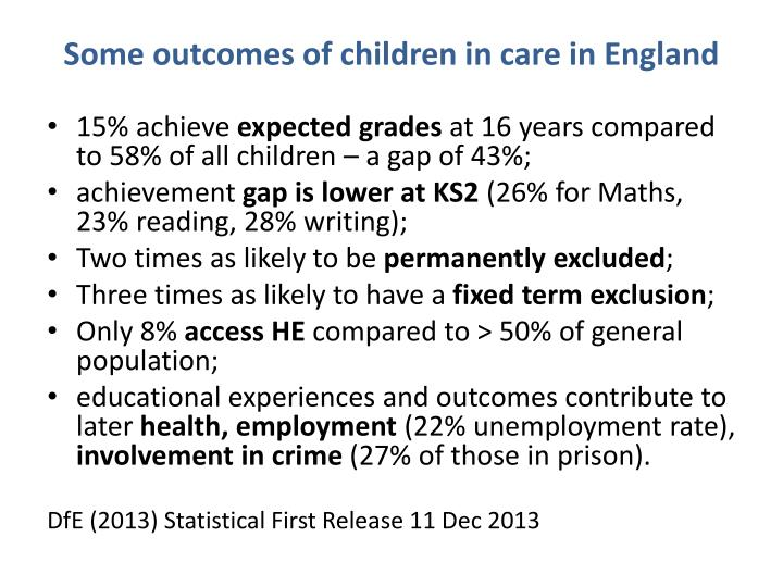 Some outcomes of children in care in England