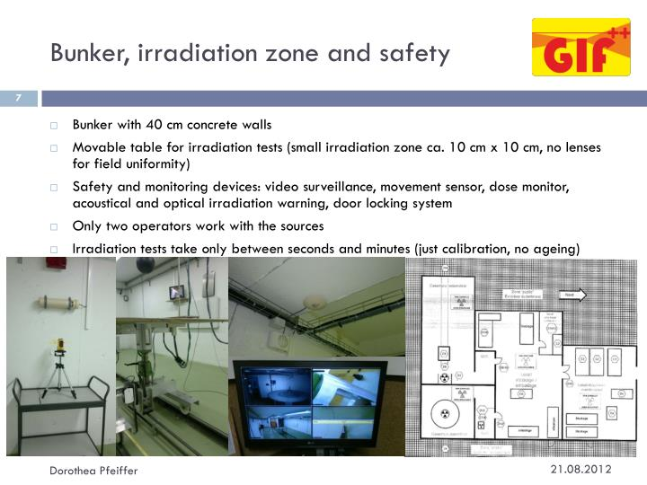 Bunker, irradiation zone and safety