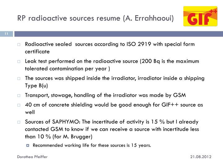 RP radioactive sources resume (A. Errahhaoui)