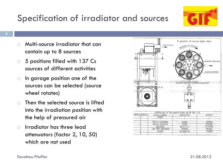 Specification of irradiator and sources