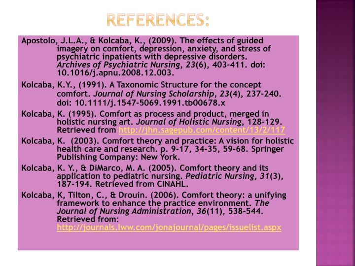 Comfort Theory and Practice (2003)