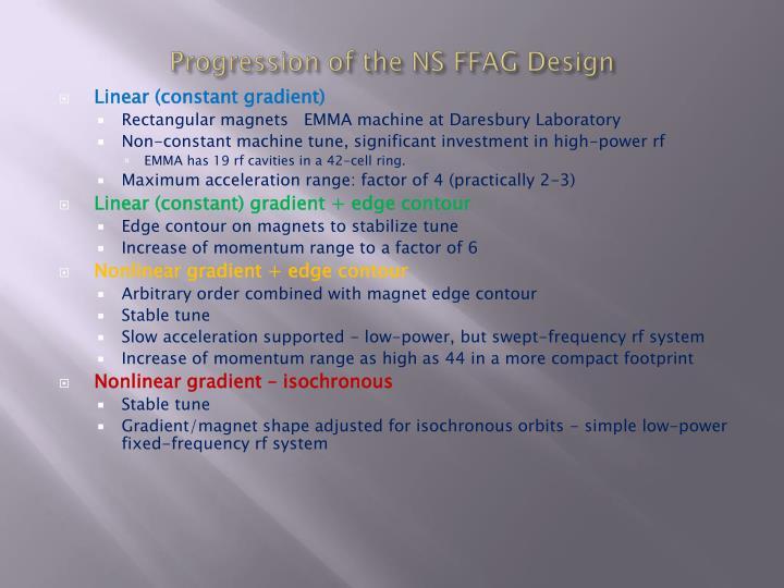 Progression of the NS FFAG Design