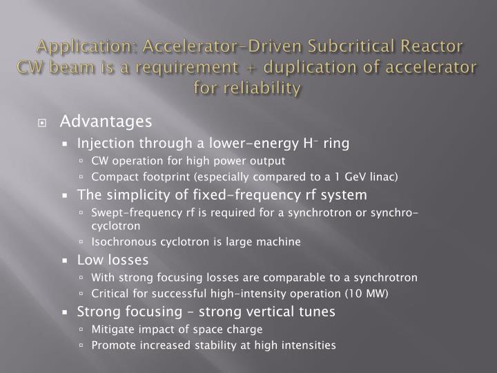 Application: Accelerator-Driven Subcritical Reactor