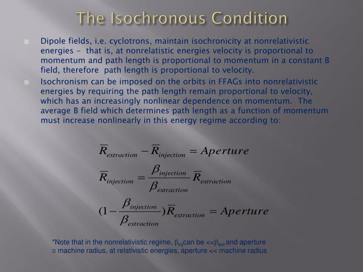 The Isochronous Condition