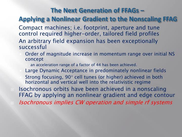 The Next Generation of FFAGs –