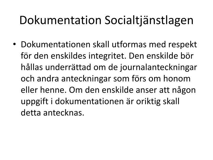 Dokumentation Socialtjänstlagen