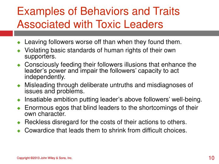 Examples of Behaviors and Traits Associated with Toxic Leaders