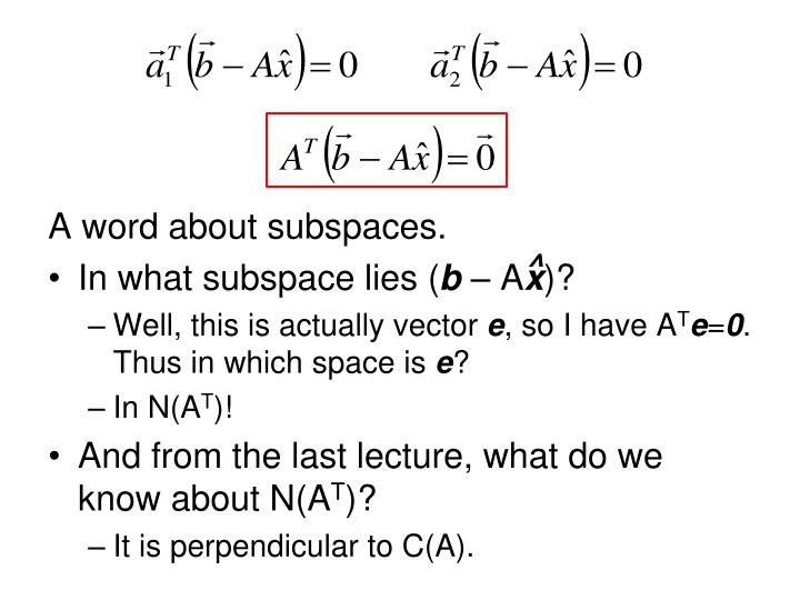 A word about subspaces.