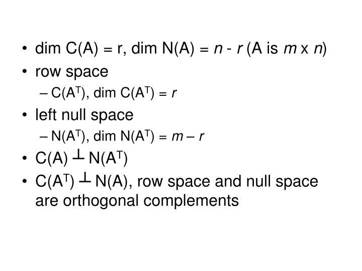 Dim C(A) = r, dim N(A) =