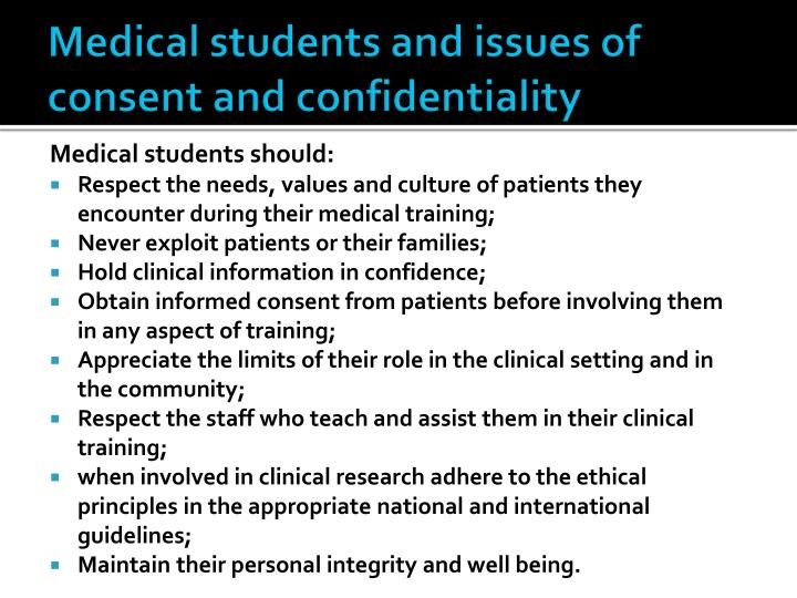 Medical students and issues of consent and confidentiality