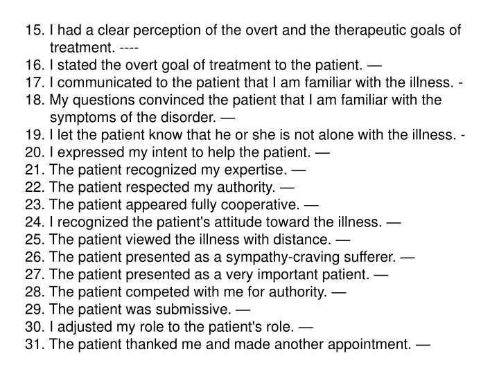 15. I had a clear perception of the overt and the therapeutic goals of treatment. ----