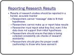 reporting research results