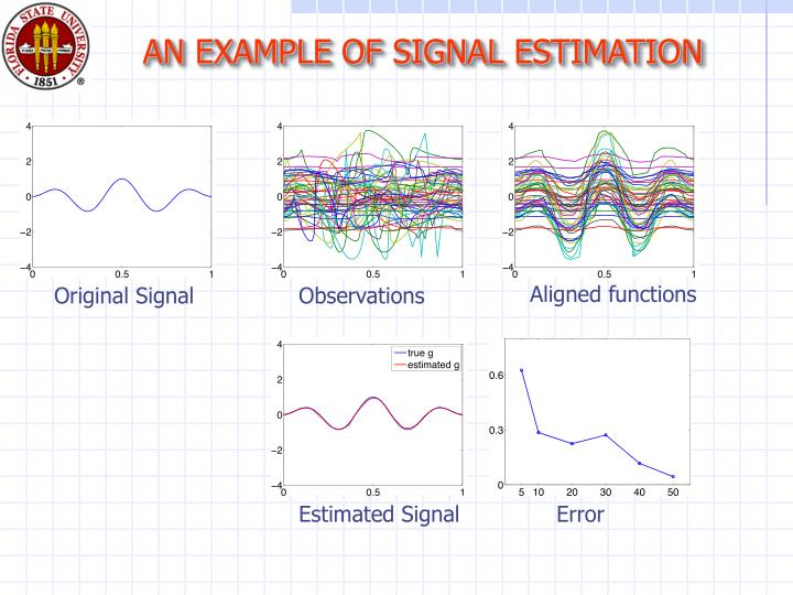 AN EXAMPLE OF SIGNAL ESTIMATION