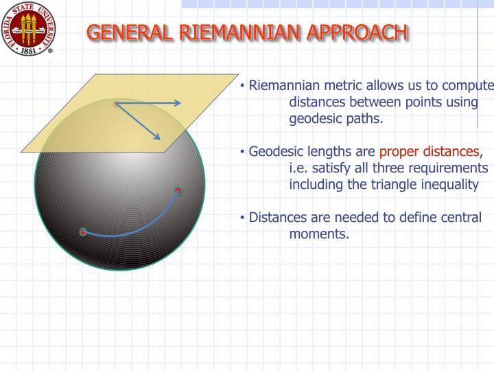 GENERAL RIEMANNIAN APPROACH