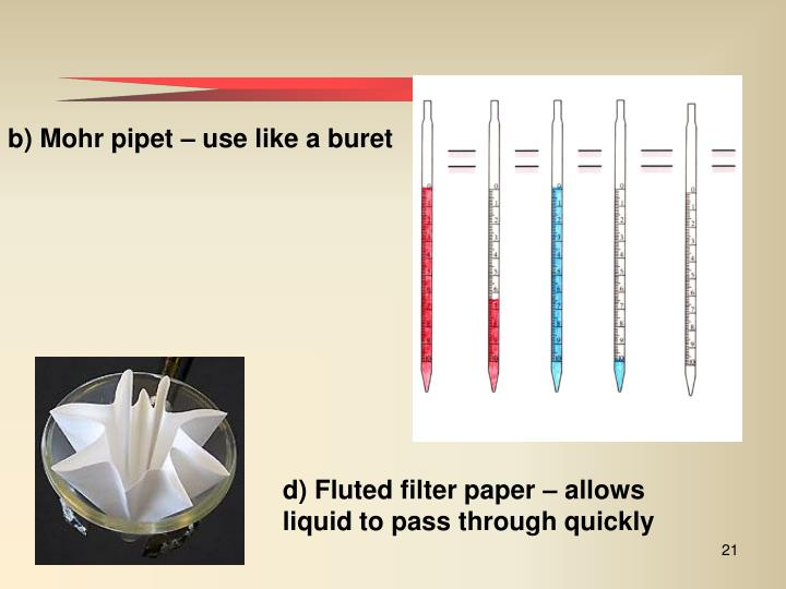d) Fluted filter paper – allows liquid to pass through quickly