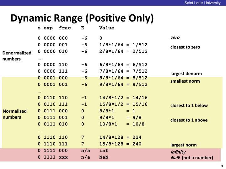 Dynamic Range (Positive Only)