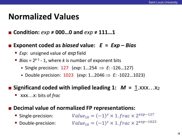 Normalized Values