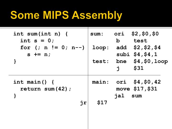 Some MIPS Assembly