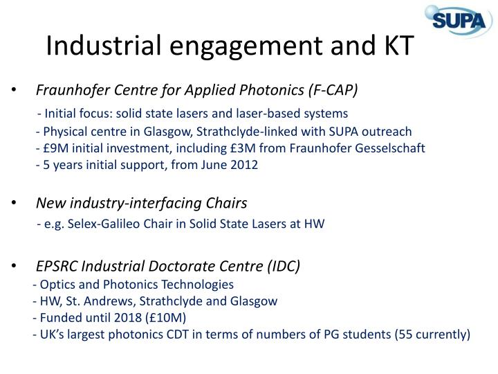 Industrial engagement and KT