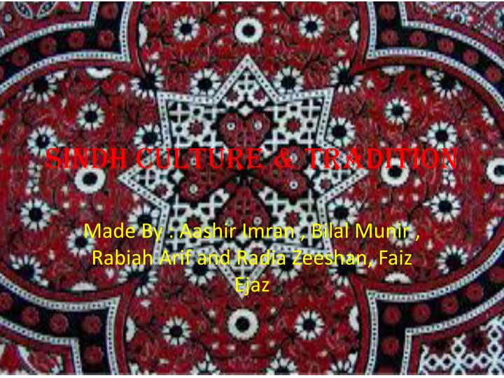 sindh culture tradition n.