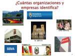 cu ntas organizaciones y empresas identifica