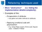 refactoring techniques used