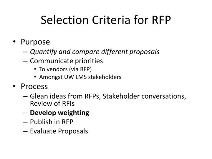 selection criteria for rfp n.