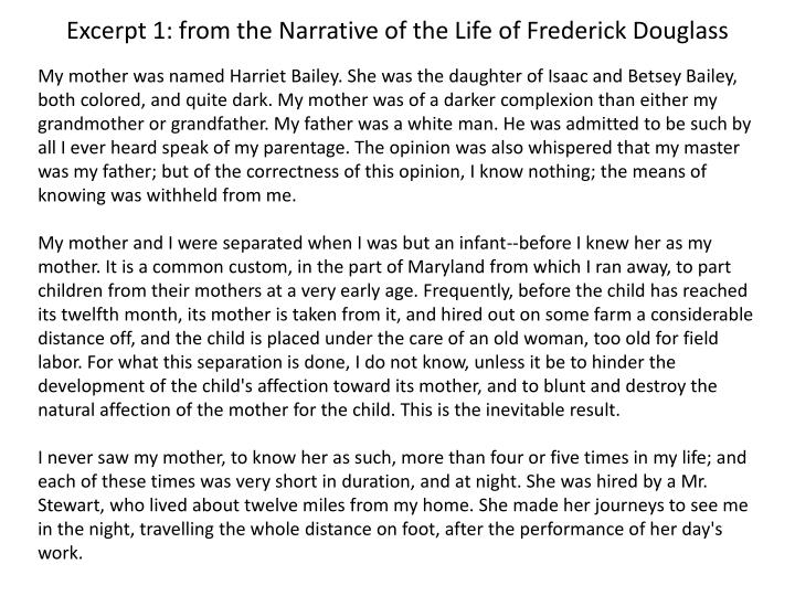 narrative of the life of frederick douglass rhetorical essay Frederick douglass was born into slavery, in maryland after his escape, he was determined to expose the cruel reality of slavery to the public douglas's first autobiography, the narrative of the life of frederick douglas is considered a primary source, making it extremely dependable.