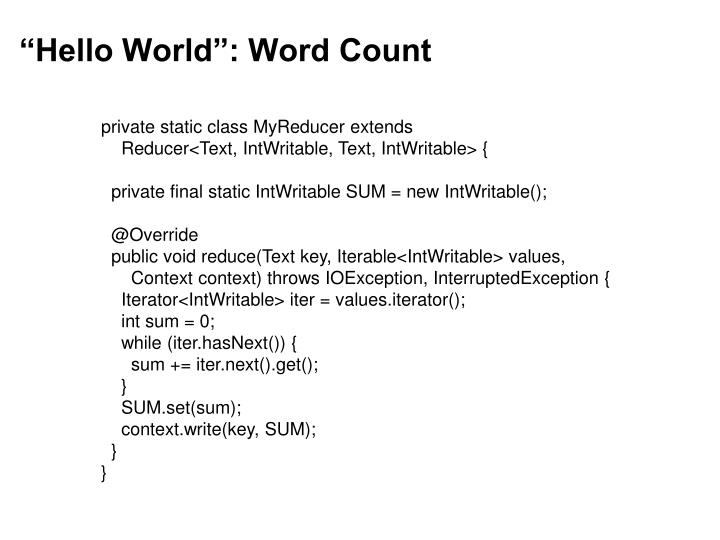 """""""Hello World"""": Word Count"""