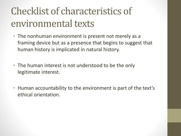 Checklist of characteristics of environmental texts