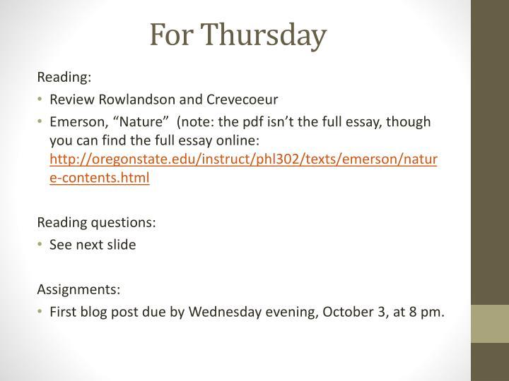For Thursday
