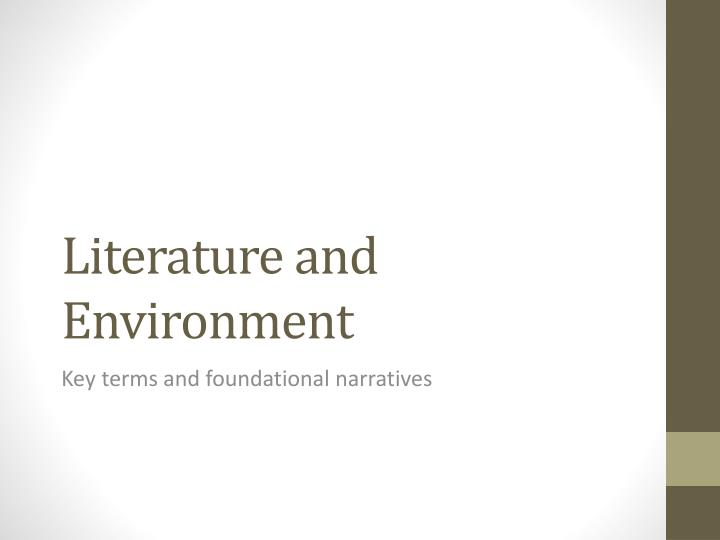 Literature and environment