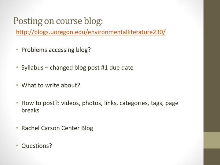 Posting on course blog