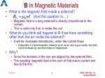 b in magnetic materials