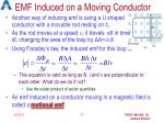 emf induced on a moving conductor