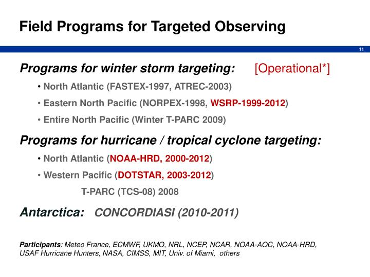 Field Programs for Targeted Observing