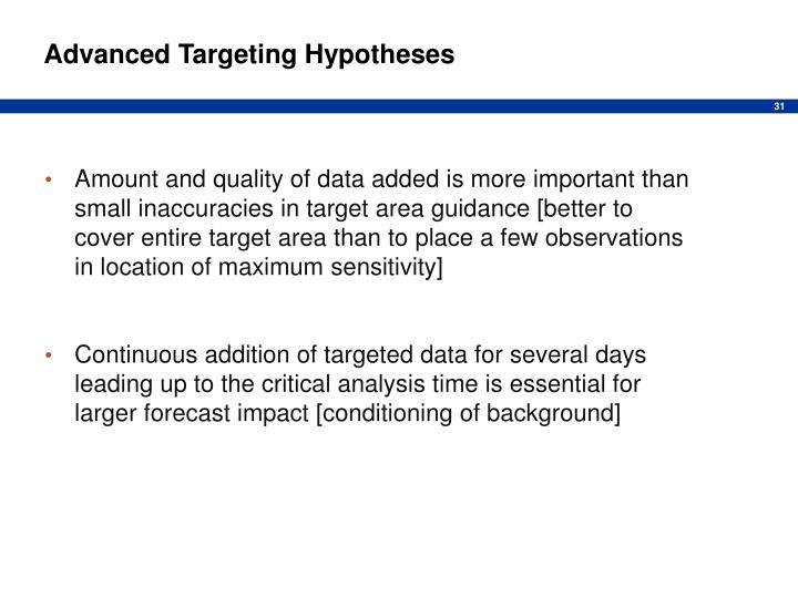 Advanced Targeting Hypotheses