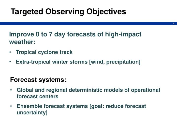 Targeted Observing Objectives